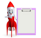Rocket character with notepad Royalty Free Stock Photography