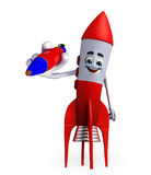Rocket character with pen Stock Image
