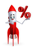 Rocket character with percent sign Royalty Free Stock Photo