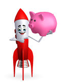 Rocket character with piggy bank Stock Photos