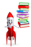 Rocket character with pile of books Royalty Free Stock Photos