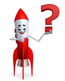 Rocket character with question mark Royalty Free Stock Photography