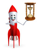 Rocket character with sand clock Stock Photography