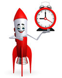 Rocket character with table clock Royalty Free Stock Images