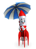 Rocket character with umbrella Stock Images