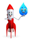 Rocket character with water drope Stock Images