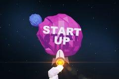 Rocket che va verso la partenza del pianeta royalty illustrazione gratis