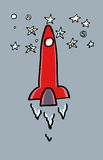 Rocket che vola alle stelle Immagine Stock