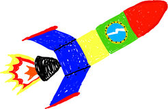 Rocket. Child's drawing of a colorful spaceship - isolated on white Stock Images