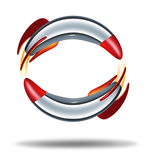 Rocket Circle. Concept with two rockets blasting off going round as a frame in a symbol of exploration and power from a metal missile spacecraft with a Royalty Free Stock Image