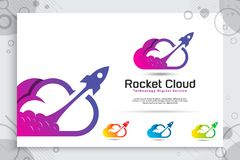 Rocket cloud vector logo with colorful and simple style, illustration cloud and rocket as a symbol icon of digital template stock illustration