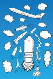 Rocket clouds and airplane illustrations Stock Images