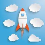 Rocket Clouds Blue Sky Immagini Stock Libere da Diritti
