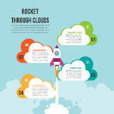 Rocket Through Clouds Infographic Royalty Free Stock Photo