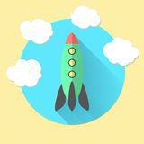 Rocket and clouds, run a business concept. Vector illustration Royalty Free Stock Images