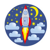 Rocket, clouds, stars, moon. Caricature of a rocket in the sky of stars and clouds Royalty Free Stock Image