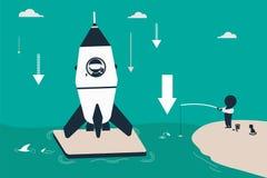 Rocket com astronauta aterrou em uma plataforma do oceano Foto de Stock