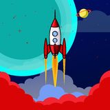Rocket começa vai acima à ilustração da lua ilustração do vetor