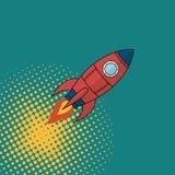 Rocket comics. Space rocket comics book style. Vector illustration vector illustration