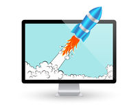 Rocket and computer screen. Startup Comic or Project Development Concept. Vector Icon Stock Photo