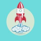 Rocket con el rastro de vector plano del diseño de las nubes Imagenes de archivo