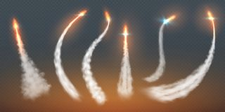 Rocket condensation trails. Fire jet steam effect airplane flight lines fly smoke fire burst. Aircraft contrail vector illustration