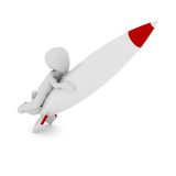 Rocket. A 3D character on a rocket Royalty Free Stock Photos