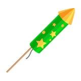 Rocket d'esplosione verde con le stelle dorate isolate illustrazione vettoriale