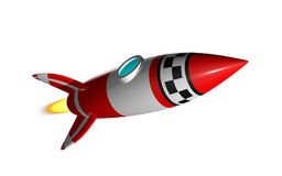Rocket 3D render. Rocket launcher start up. 3D render. Isolated on white Royalty Free Stock Images