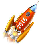 Rocket 2016. 3D rendering of a rocket with a 2016 icon royalty free illustration