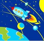 Rocket dans l'espace illustration stock