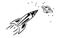 Rocket dans l'espace Photographie stock libre de droits