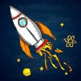 Rocket dans l'espace tiré par la main illustration stock