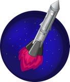 Rocket dans le vol de l'espace sur un fond des étoiles Photos libres de droits