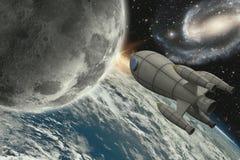 Rocket, das zum Mond fliegt stockfoto