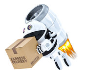 Rocket Delivery Robot flying with package. . Contains cl. Rocket Delivery Robot flying with package. over white. Contains clipping path royalty free illustration