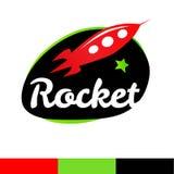 Rocket in der Raumlogoschablone lizenzfreies stockfoto