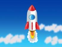 Rocket, der zum Kosmos fliegt Stockfotografie