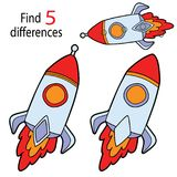 Rocket differences. Vector illustration of kids puzzle educational game Find 5 differences for preschool children with  cartoon rocket Royalty Free Stock Image