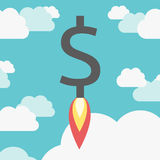 Rocket dollar above clouds Stock Photography