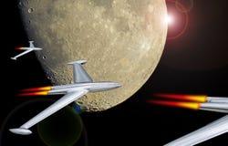 Rocket du côté en noir de la lune photographie stock