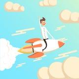 Rocket e a mosca do homem de negócios no céu começam acima o conceito Imagem de Stock Royalty Free