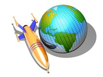 Rocket and Earth. A rocket and planet Earth illustration Royalty Free Stock Image