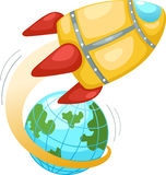 Rocket and earth globe Royalty Free Stock Photo