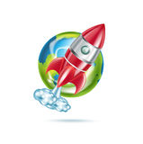 Rocket and earth globe icon isolated. On white Royalty Free Stock Image