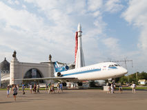 Rocket East and Yak-42 Stock Photography