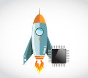 Rocket and electronic chip concept Stock Photography