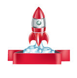 Rocket emblem isolated on white Royalty Free Stock Image