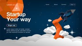Rocket en el espacio x para el homepage stock de ilustración
