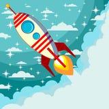 Rocket en el fondo de la luna, ejemplo del vector Fotografía de archivo libre de regalías